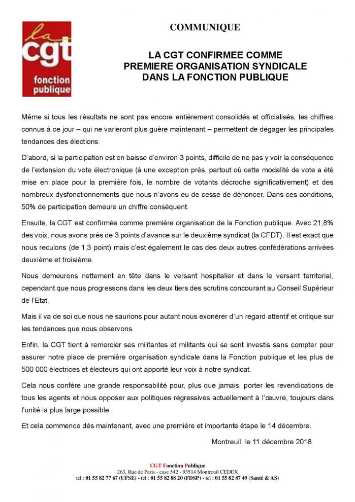 2018 12 11 la cgt confirmee comme premiere organisation syndicale dans la fonction publique page 001