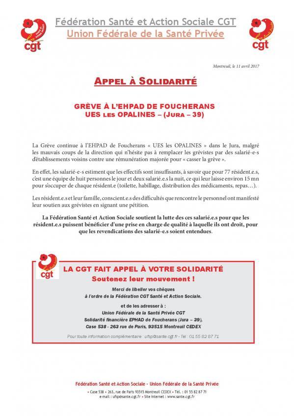 Appel solidarite : ues les opalines