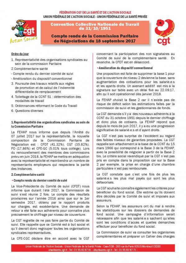 Compte rendu cgt de la commission paritaire ccn 51 du 18 septembre 2017 page 001