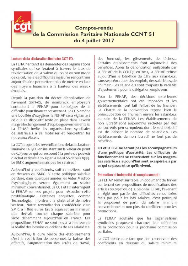 Compte rendu cgt de la commission paritaire ccn 51 du 4 juillet 2017 page 001