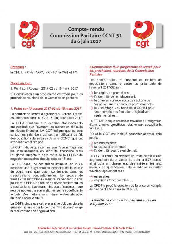 Compte rendu cgt de la commission paritaire ccn 51 du 6 juin 2017 page 001