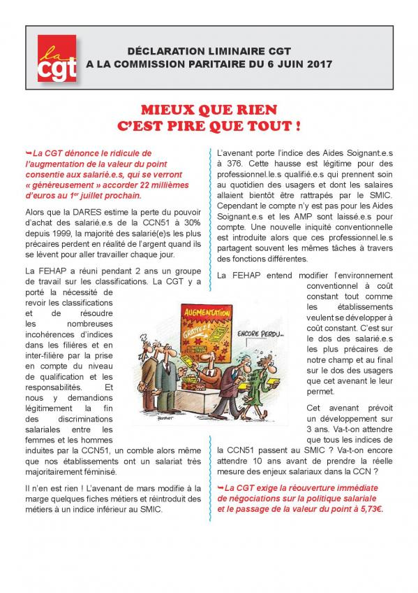 Declaration liminaire cgt a la commission paritaire du 6 juin 2017 page 001