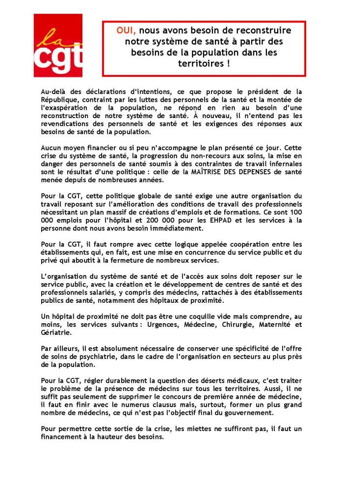 Plan sante 2022 communique de presse cgt page 001