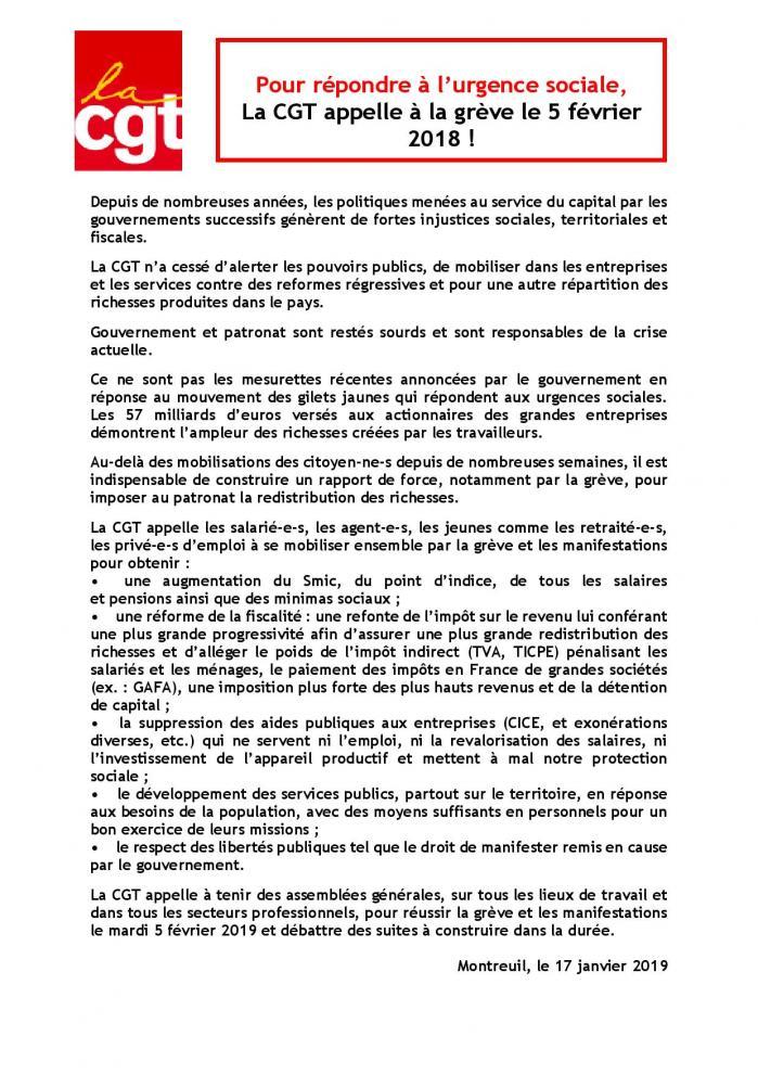 Pour repondre a l urgence sociale la cgt appelle a la greve le 5 fevrier page 001