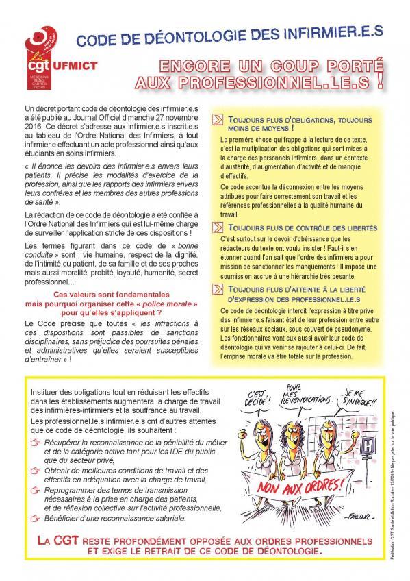 Ufmict code de deontologie des infirmier e s page 001