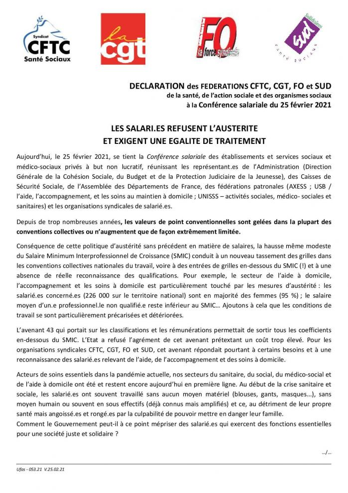 053 21 declaration conference salariale intersyndicale cftc cgt fo sud du 25 02 21 page 001