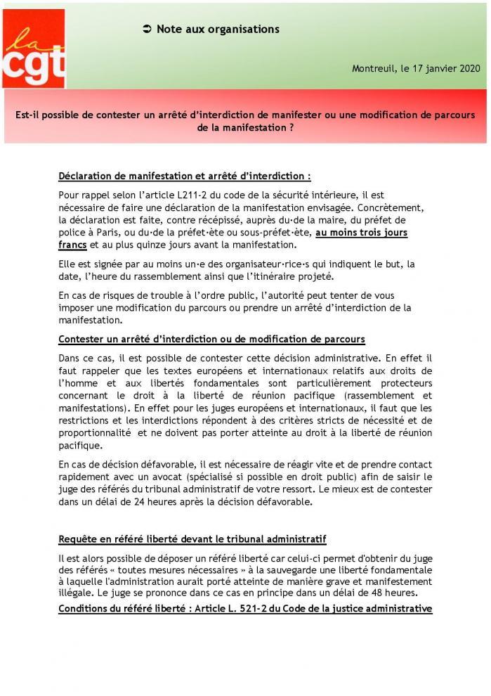 17 01 20 est il possible de contester un arrete d interdiction de manifester ou une modification de parcours de la manifestati page 001