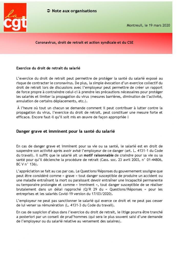 19 03 20 fiche dlaj coronavirus droit de retrait et action syndicale et du cse page 001