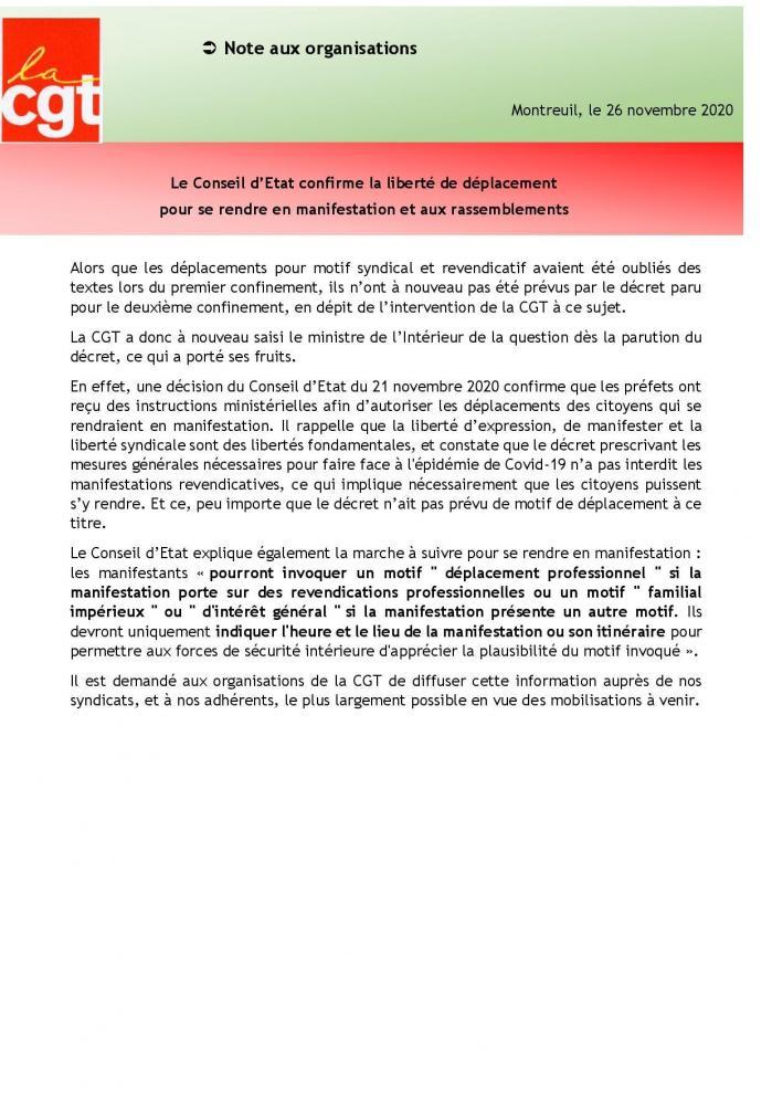 26 11 20 le conseil d etat confirme la liberte de deplacement pour se rendre en manifestation et aux rassemblements page 001