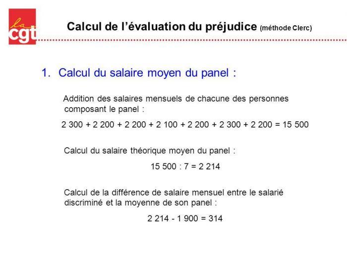 Calcul de l evaluation du prejudice methode clerc