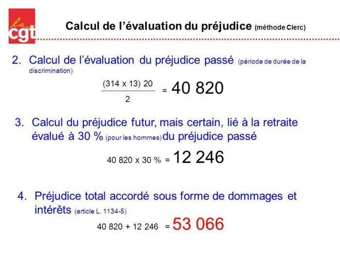 Calcul de l evaluation du prejudice methode clerc 1