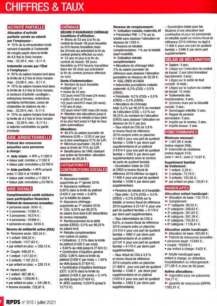 Chiffres et taux 15 juin 2021 page 1