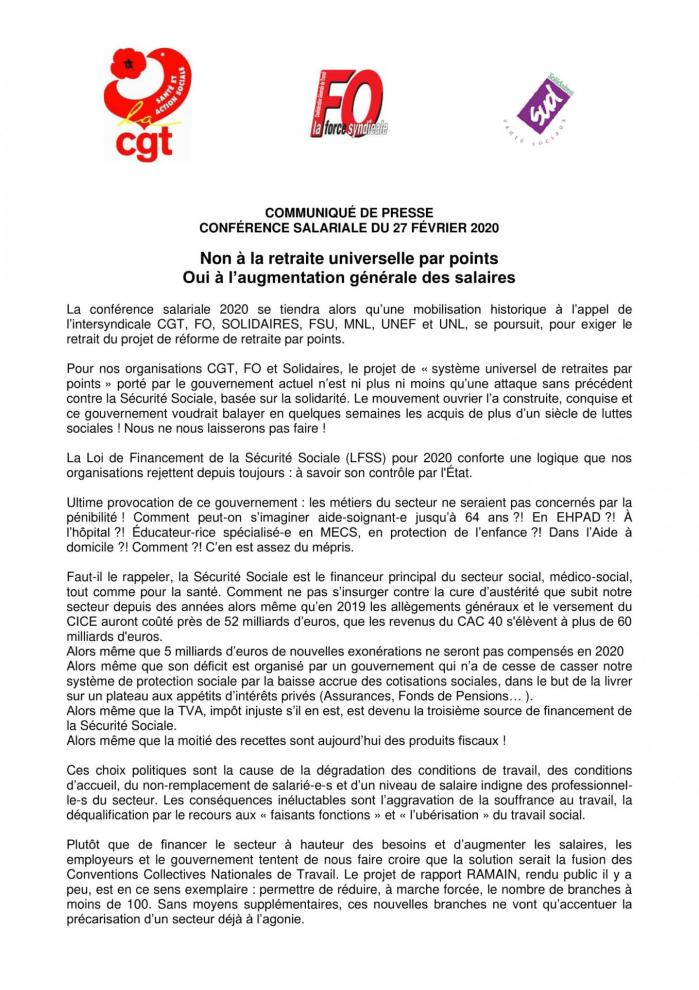 Communique de presse intersyndical cfgt fo sud conference salariale 27 fevrier 2020 1