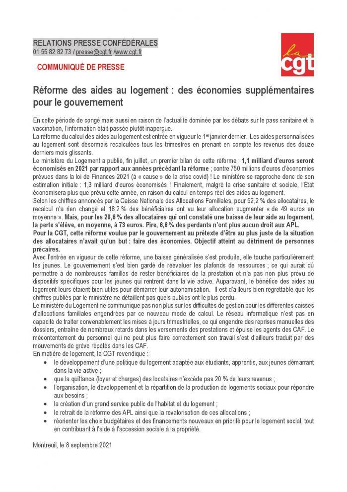Cp cgt economies sur l aide au logement page 001