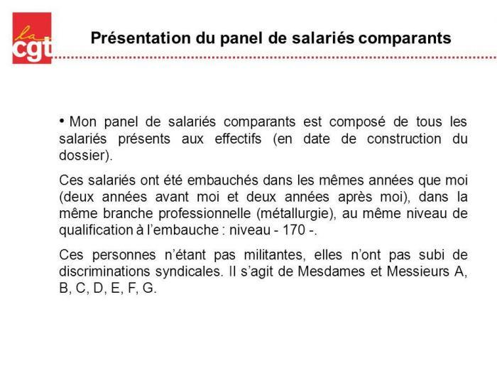 Presentation du panel de salaries comparants