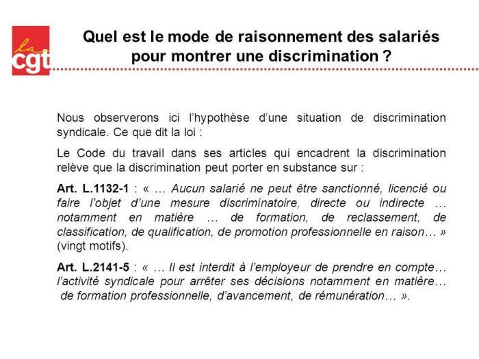 Quel est le mode de raisonnement des salaries pour montrer une discrimination
