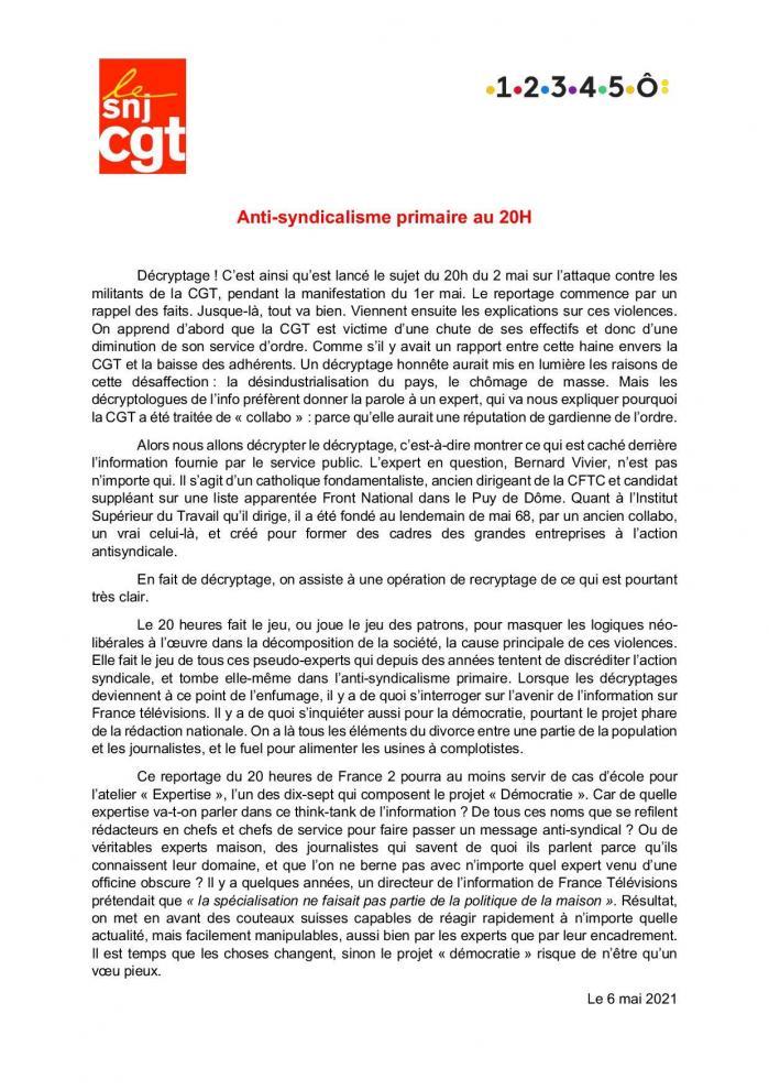 Snj cgt ftv antisyndicalisme primaire au 20 heures 6 mai 2021 page 001