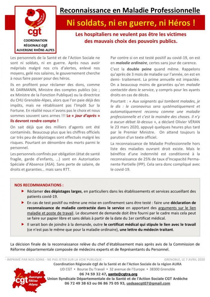 Tract covid 19 reconnaissance professionnelle 2