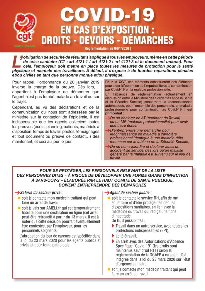 Tract sante au travail exposition covid19 04 2020 1