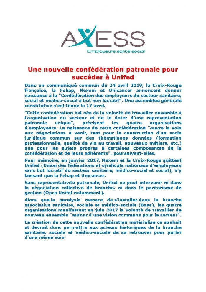 Une nouvelle confederation patronale pour succeder a unifed page 001